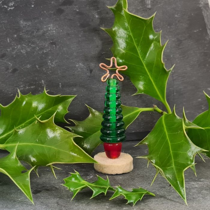 Glass Christmas Tree Ornament - Green and Red