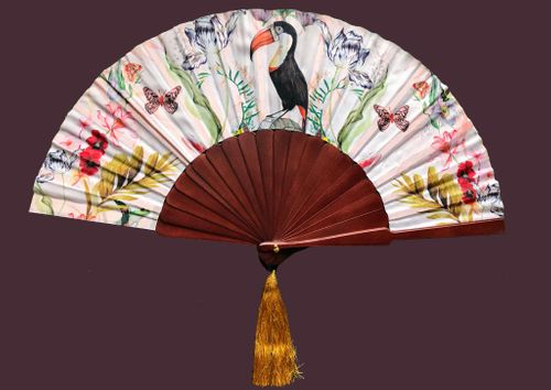 Alice Acreman silks 'Mysa' Silk Fan Hand-painted illustrations with a luxe gold tassel