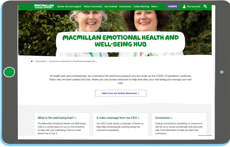 Macmillan launches Emotional Health and Wellbeing Hub for Health and Care Professionals