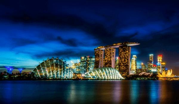 singapore night city skyline marina bay sands