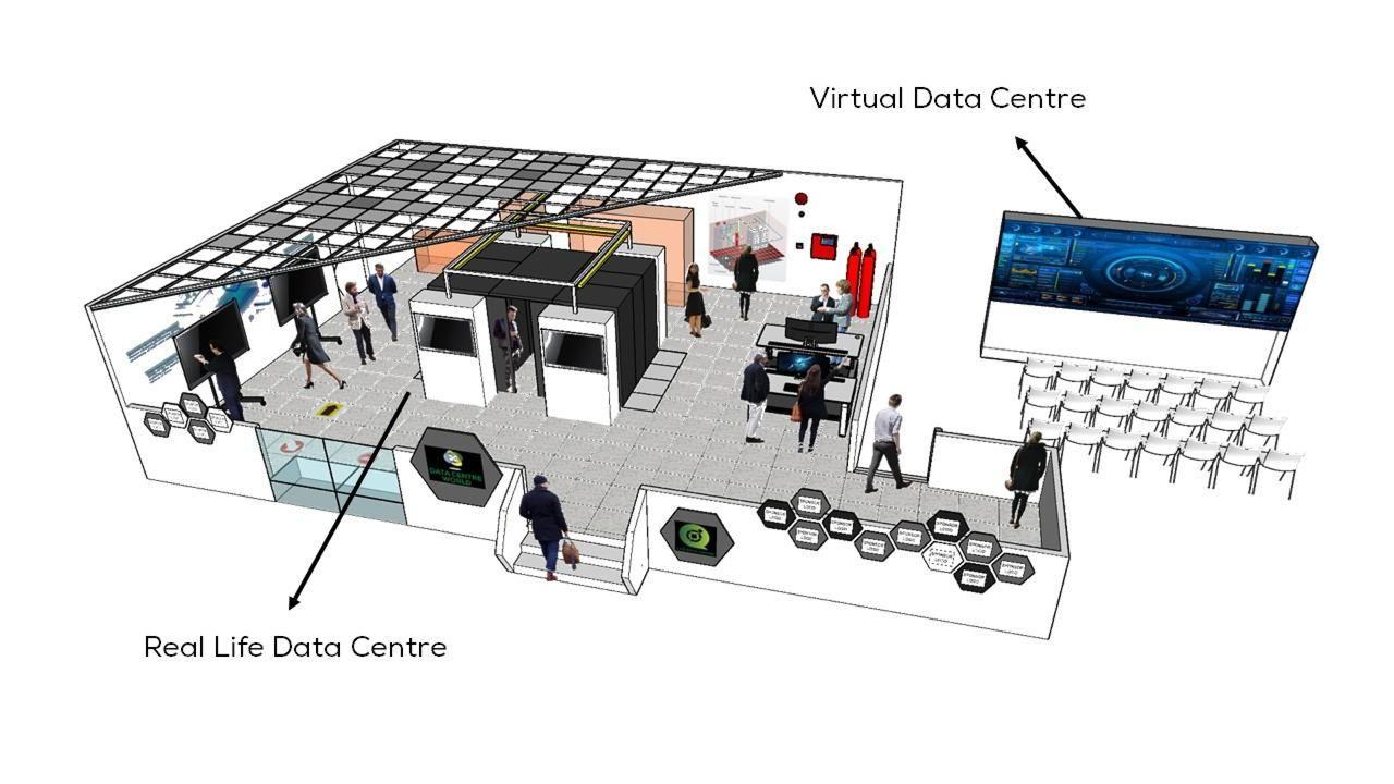 live data centre 3d map illustration