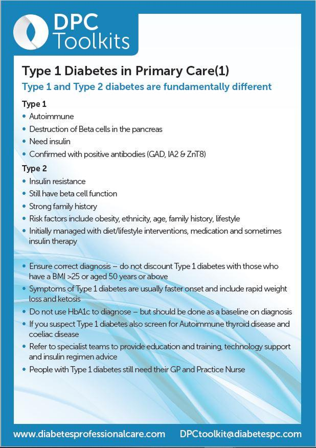 Type 1 Diabetes in Primary Care