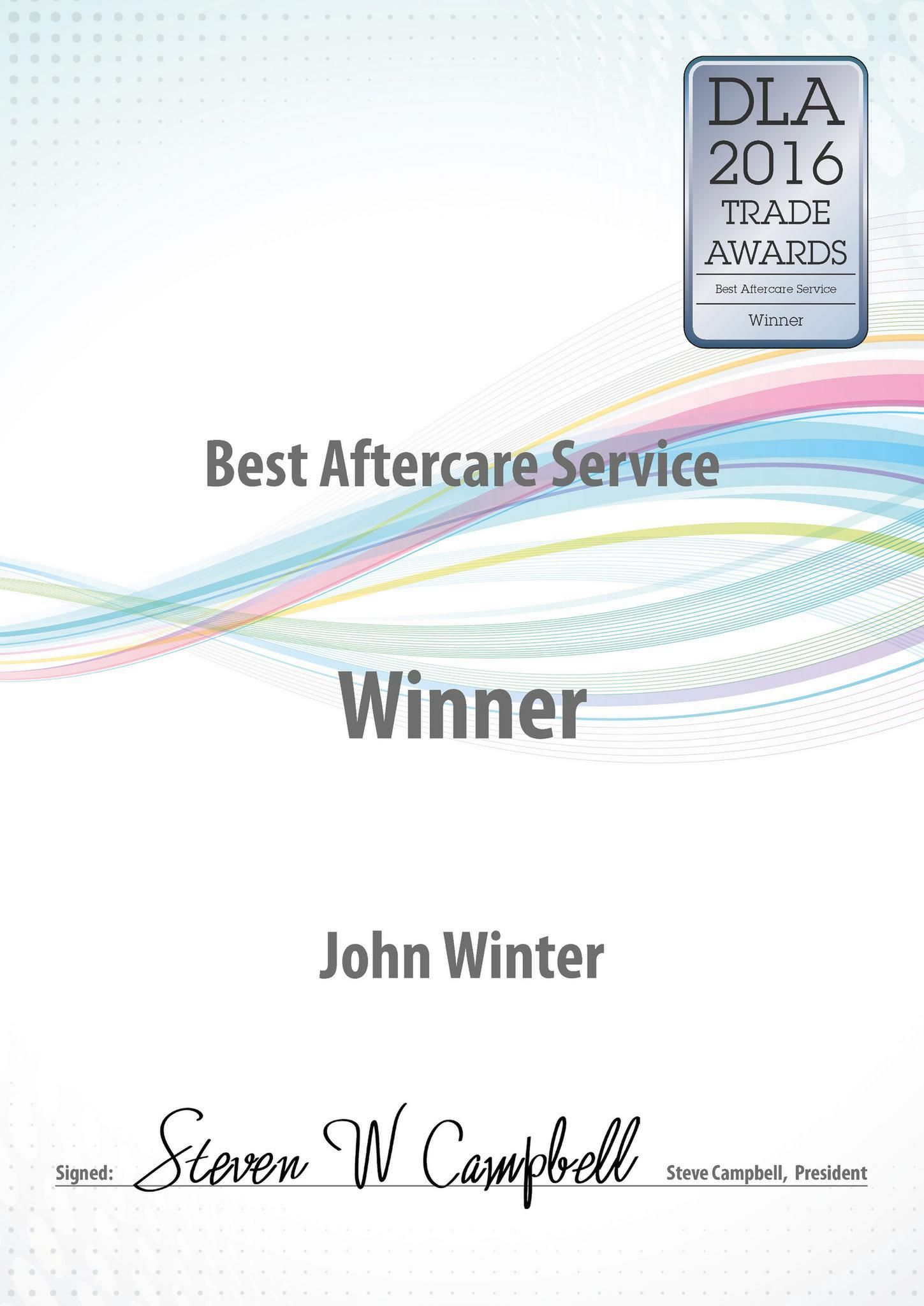 DLA Best aftercare service award