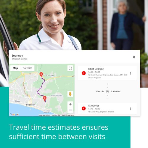 CareLineLive's travel time estimates make sure carers' rotas allow sufficient time between visits