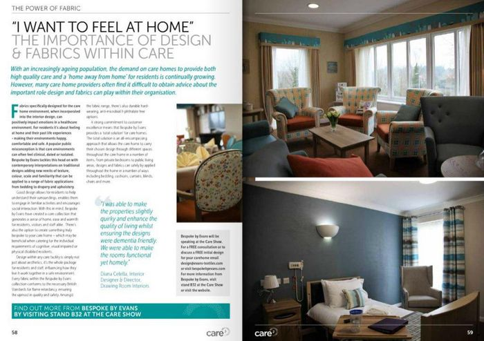 I want to feel at home the importance of design and fabrics within care