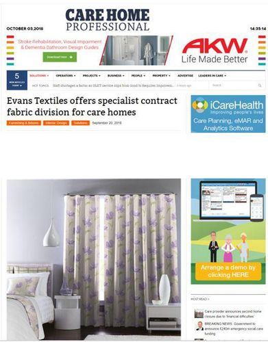 Evans Textiles offers specialist contract fabric divisions for care homes
