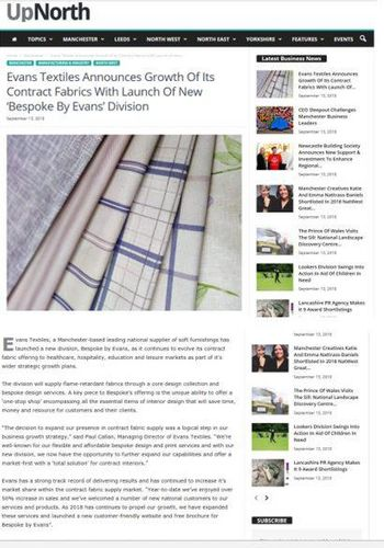 Evans Textiles announces growth of it's contract fabrics with launch of new Bespoke by Evans divisions