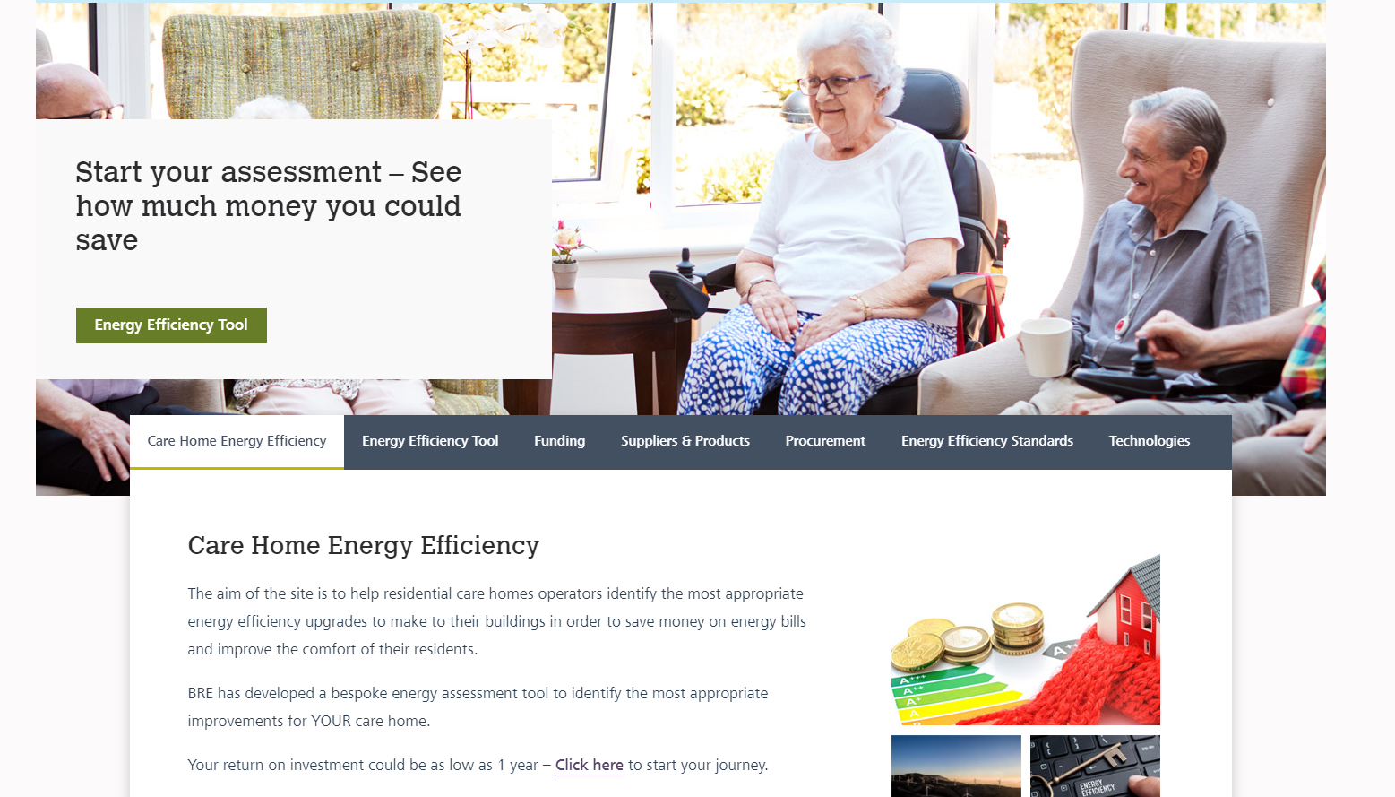 Free Government funded website and energy efficiency tool for care homes
