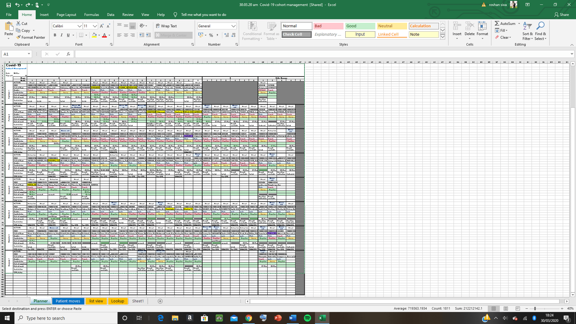 "Excel database / electronic copy of the ""Rosh board"""