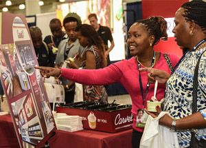 Looking at displays and products at Franchise Expos