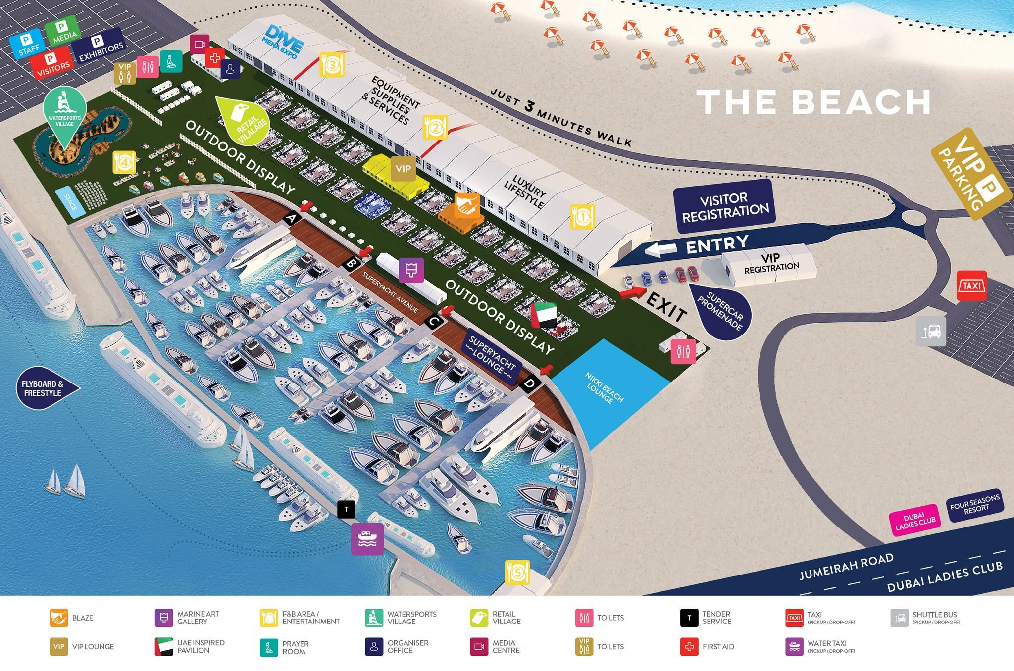 vanue map dubai boat show