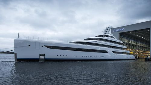 Feadship's Epic New 290-Foot Superyacht Hits the Water for the First Time in Amsterdam