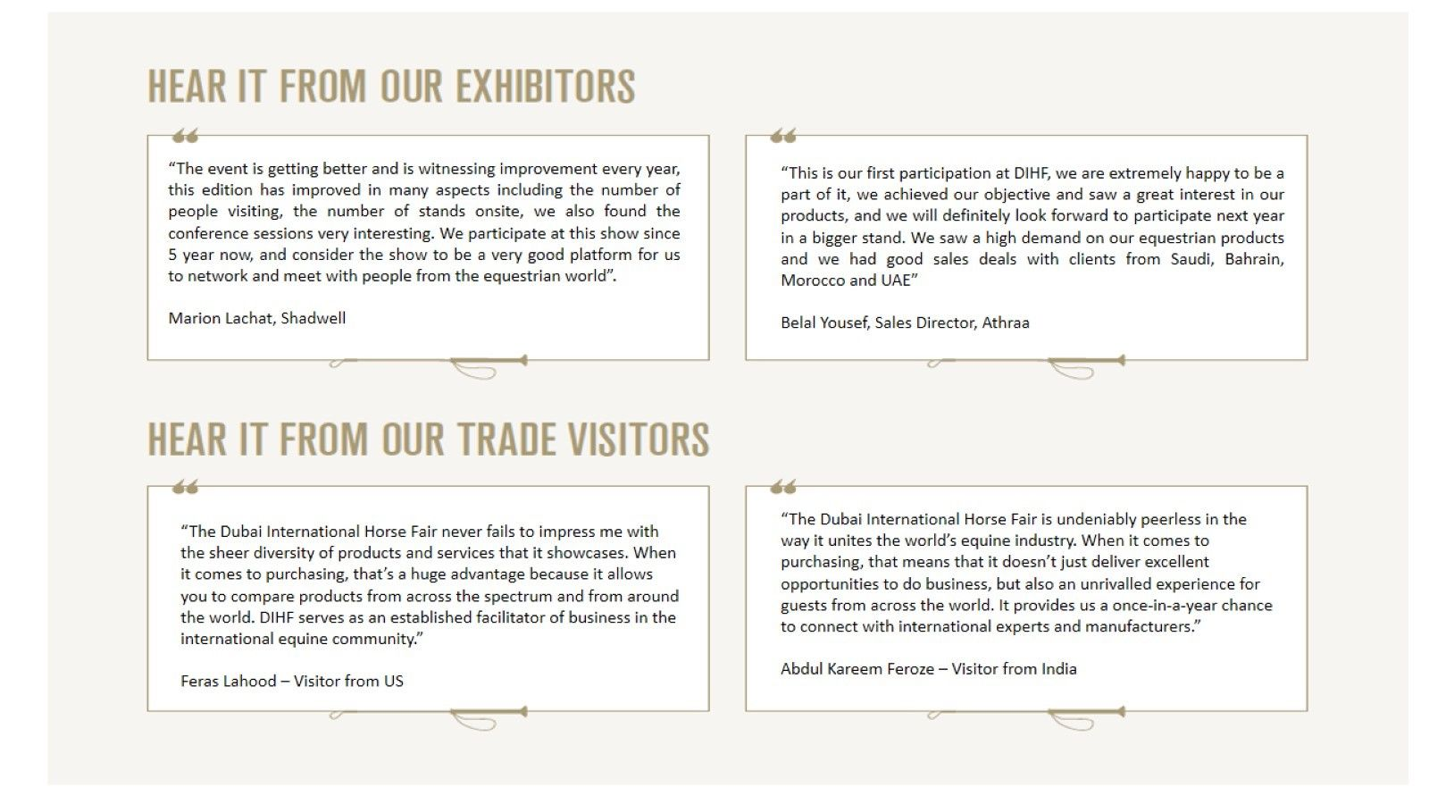 Exhibitors & Trade Buyers Testimonials