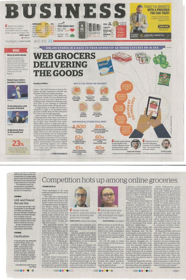 Web Grocers Delivering the Goods - Al Khaleej Business