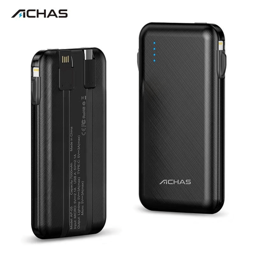 Achas MINI Multiple Output Power Bank 7000mAh with 3A fast charge Built-in Type-C, Micro USB,Lightning Cable Black