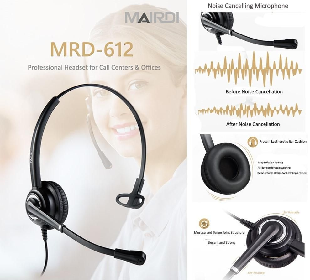 MRD-612 noise cancelling call center headset, telephone headset with Quick disconect.