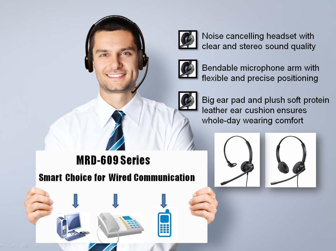 MRD-609 durable structure NC call center headset with QD or RJ9 or USB adapter