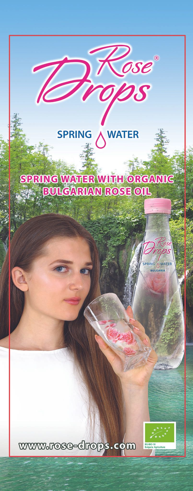 ROSE DROPS  drinking water with organic rose extract