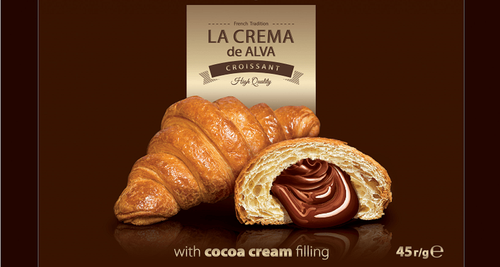 Croissant with cocoa cream filling