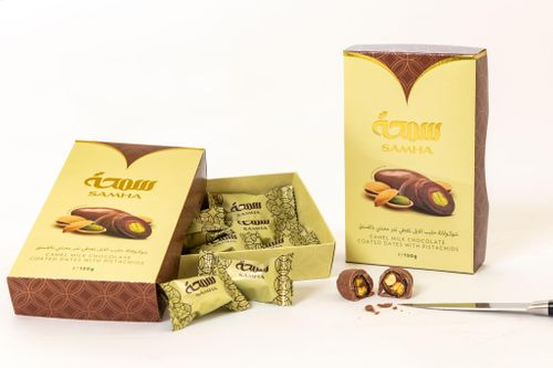 Camel Milk Chocolate Coated Dates with Pistachios