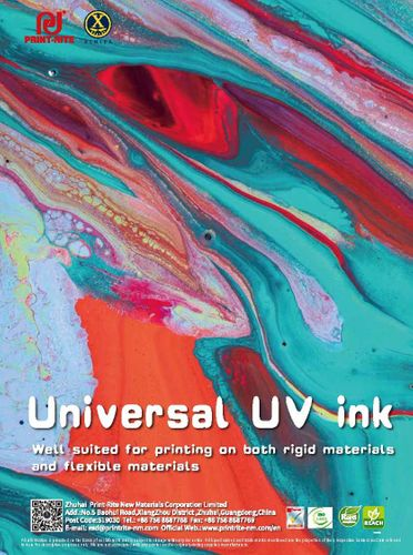 UV-LED ink for rigid or flexible materials