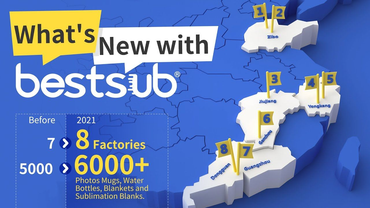 What's New with BestSub? 8 Factories & 6000+ Sublimation Products   Choose the Best Supplier!