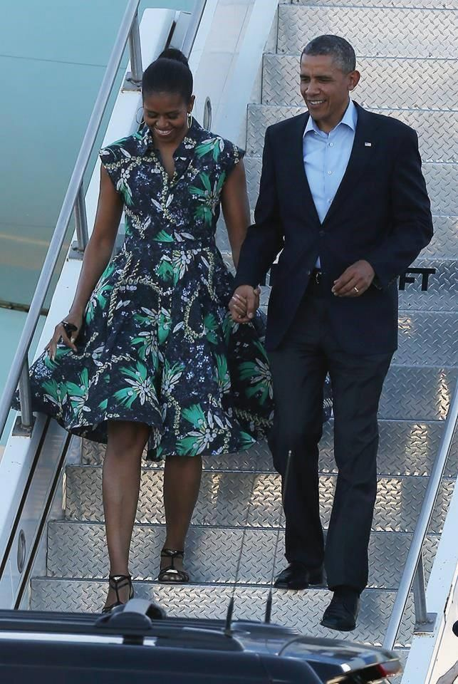 Michelle Obama wearing Mary Katrantzou dress