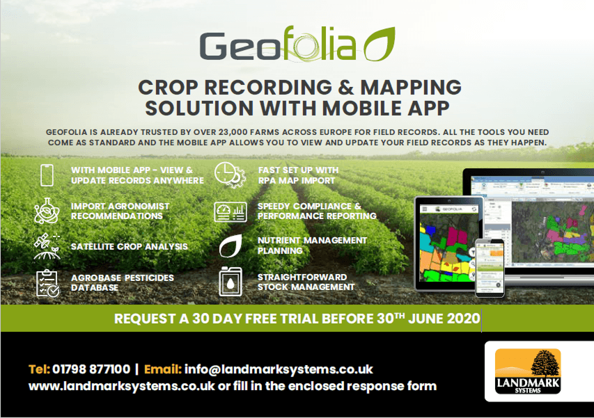 Geofolia - crop recording software with 30 day free trial