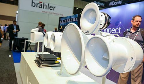 white loudspeakers