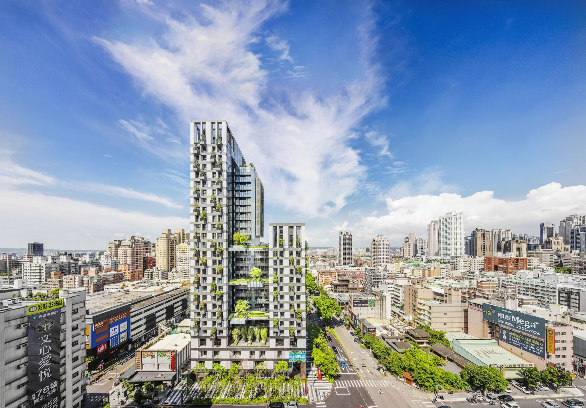 WOHA creates Taiwan residential tower complex with breathable facade