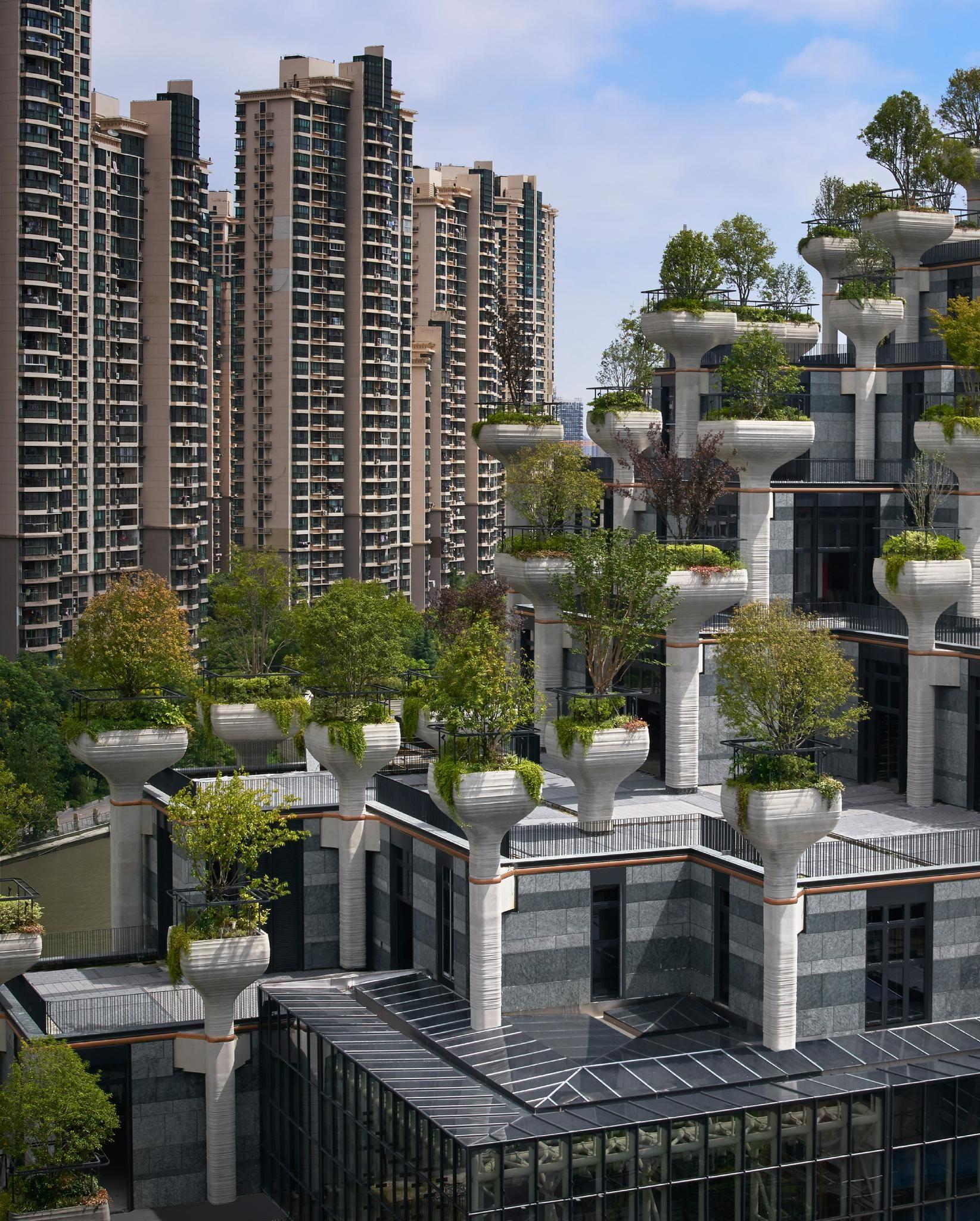 Heatherwick Studio reveals 1,000 Trees nearing completion in Shanghai
