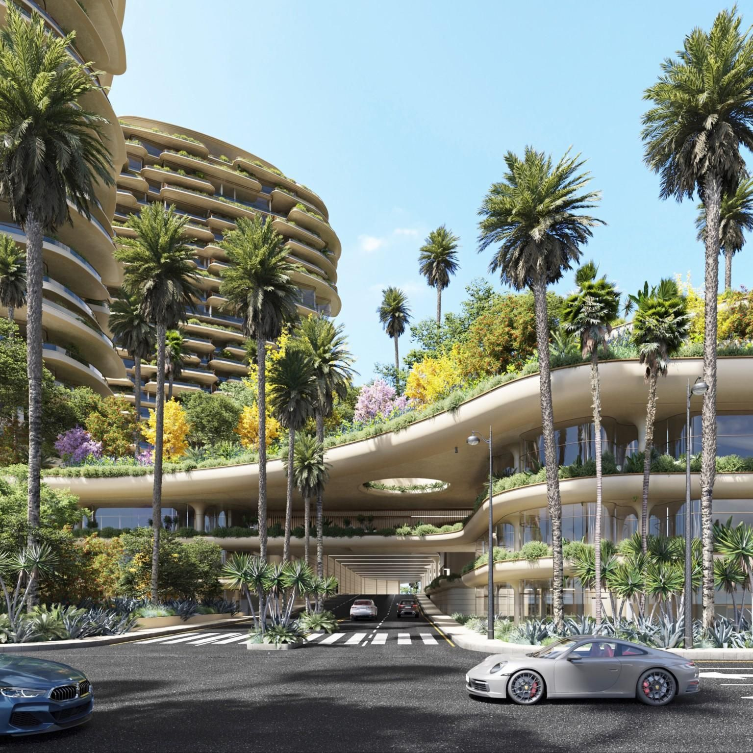 Plant-wrapped towers, botanical gardens anchor Foster + Partners' One Beverly Hills