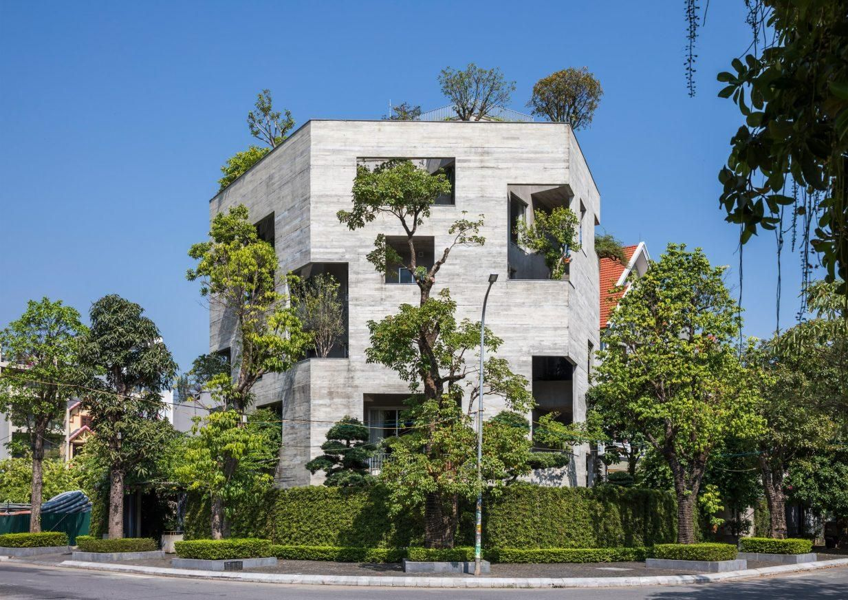 Trees burst through walls of Ha Long Villa by Vo Trong Nghia Architects
