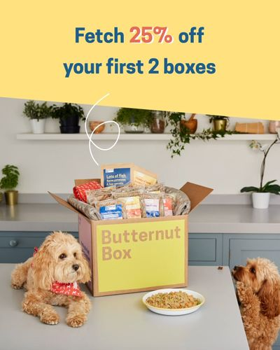 25% off your first two boxes of Butternut Box