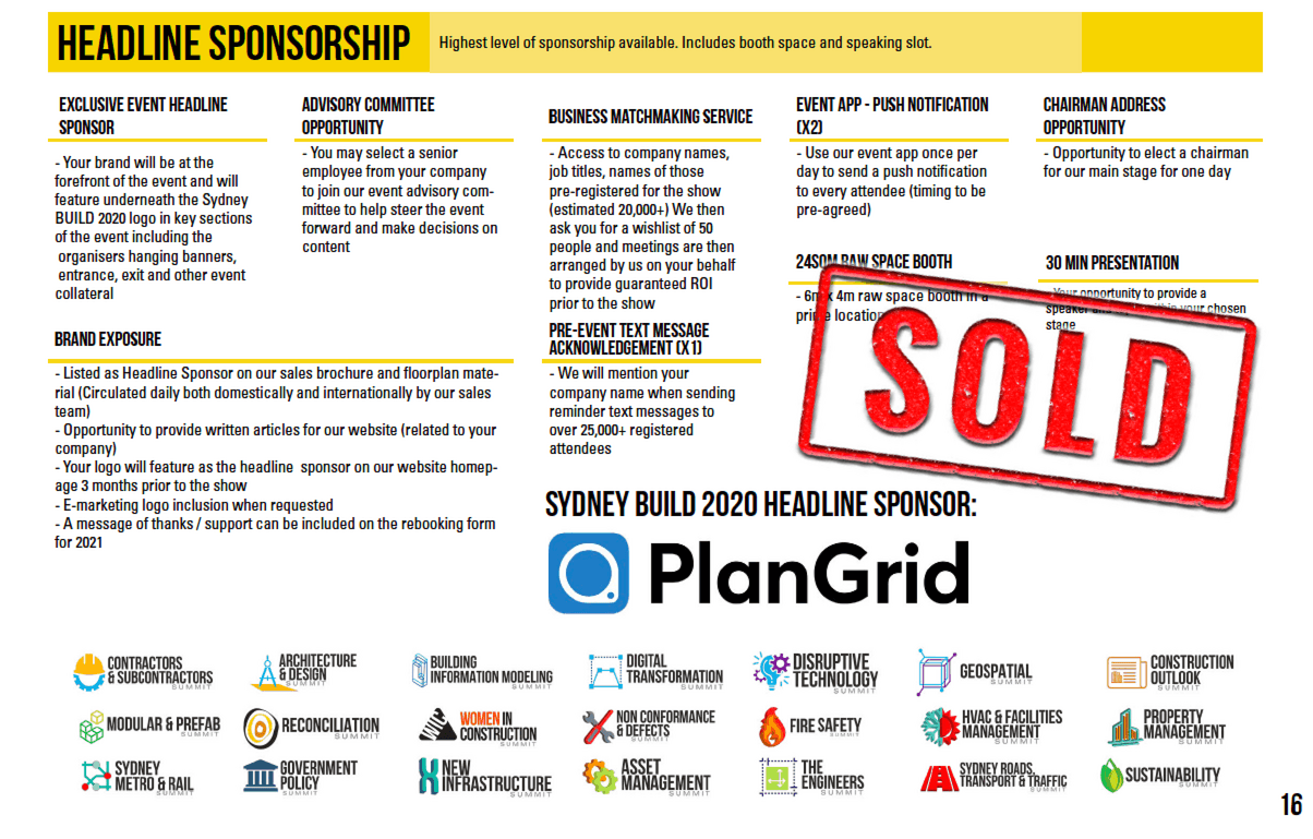 SOLD - Headline Sponsor  Plangrid