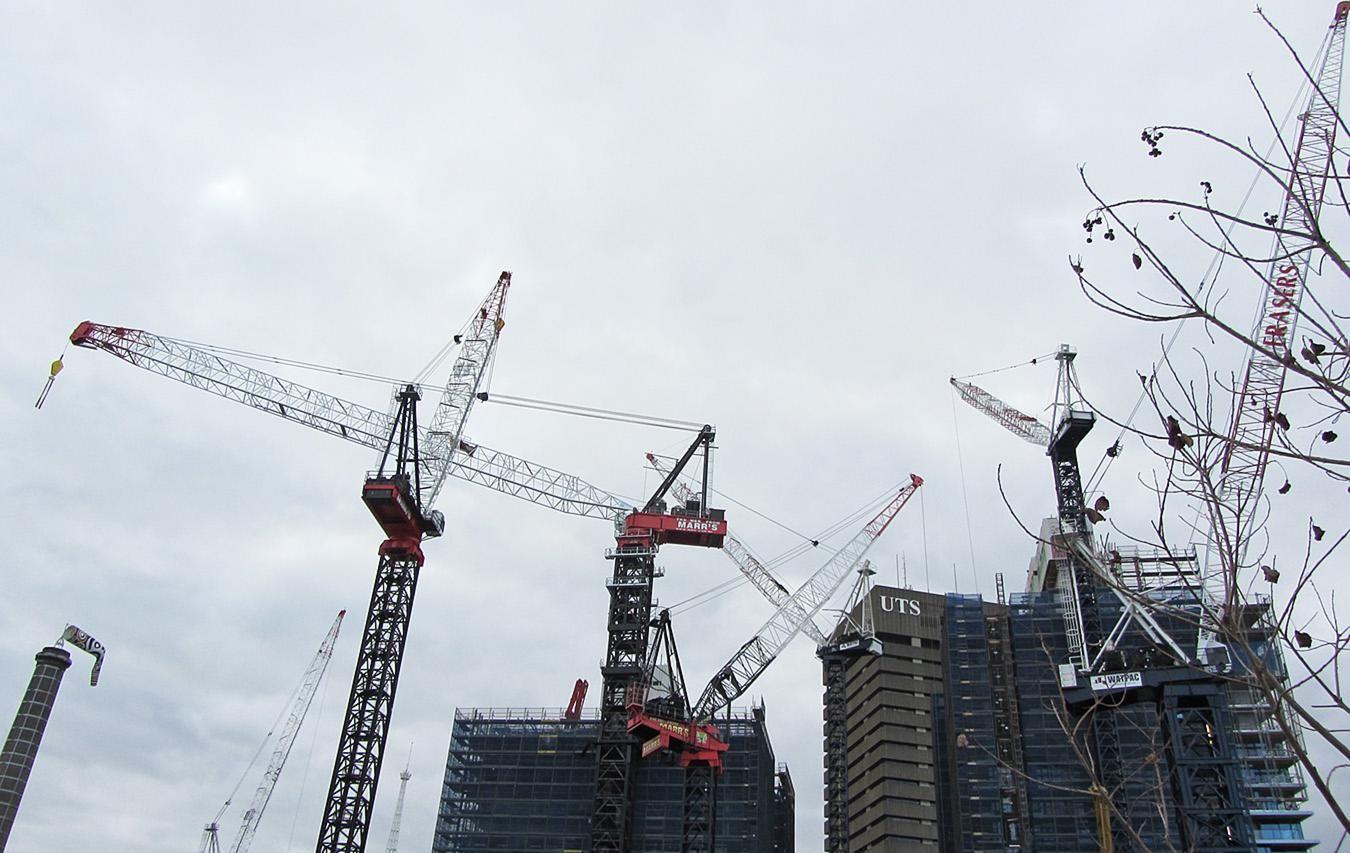 Crane Spotting: Sydney Construction Falls While Melbourne Peaks