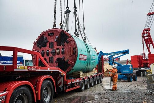 Two pipe-jacking machines being used to create part of London's new super sewer have arrived in West London