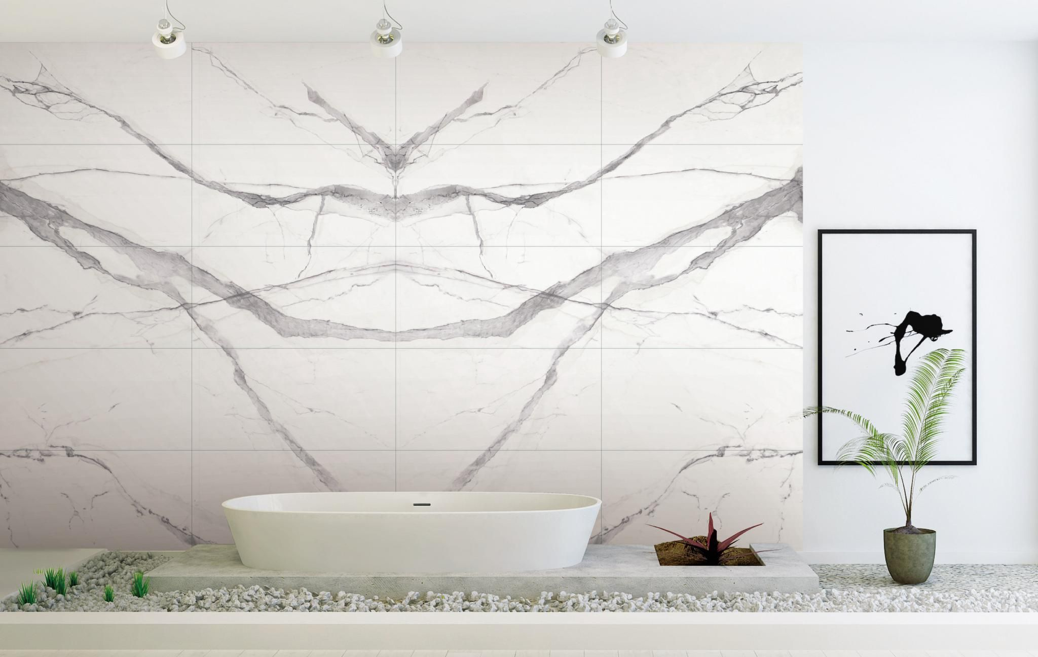 Calacatta white marble book matched