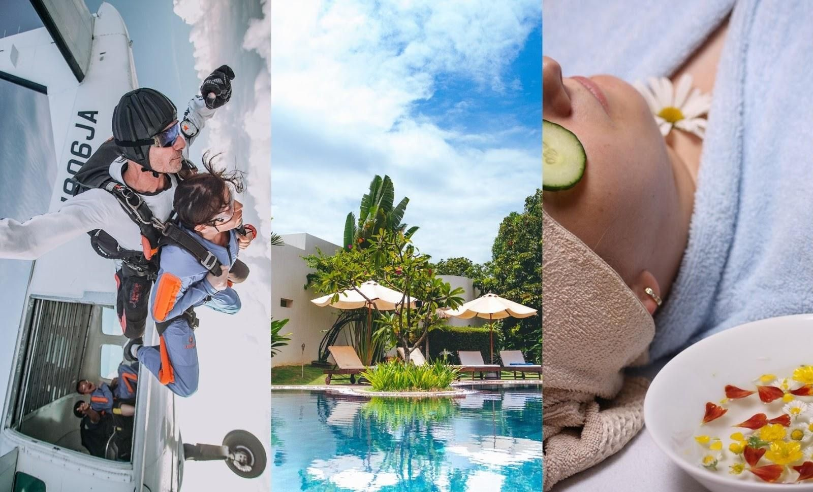 Three pictures: One featuring someone skydiving, another featuring a pool and another featuring a lady having a spa treatment.