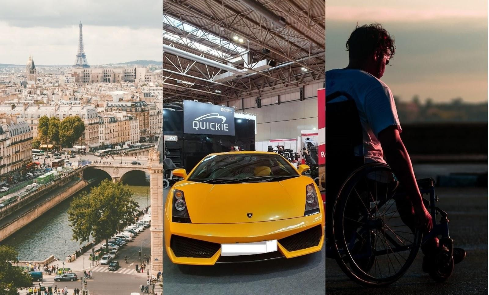 Three pictures: One featuring a landscape of Paris, the other one featuring a yellow lamborghini and the last one featuring a man in a wheelchair doing sports.