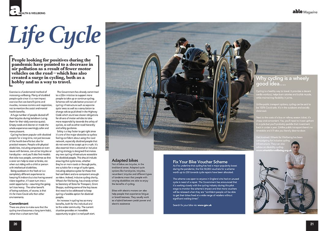 Picture of an Able Magazine article about cycling.