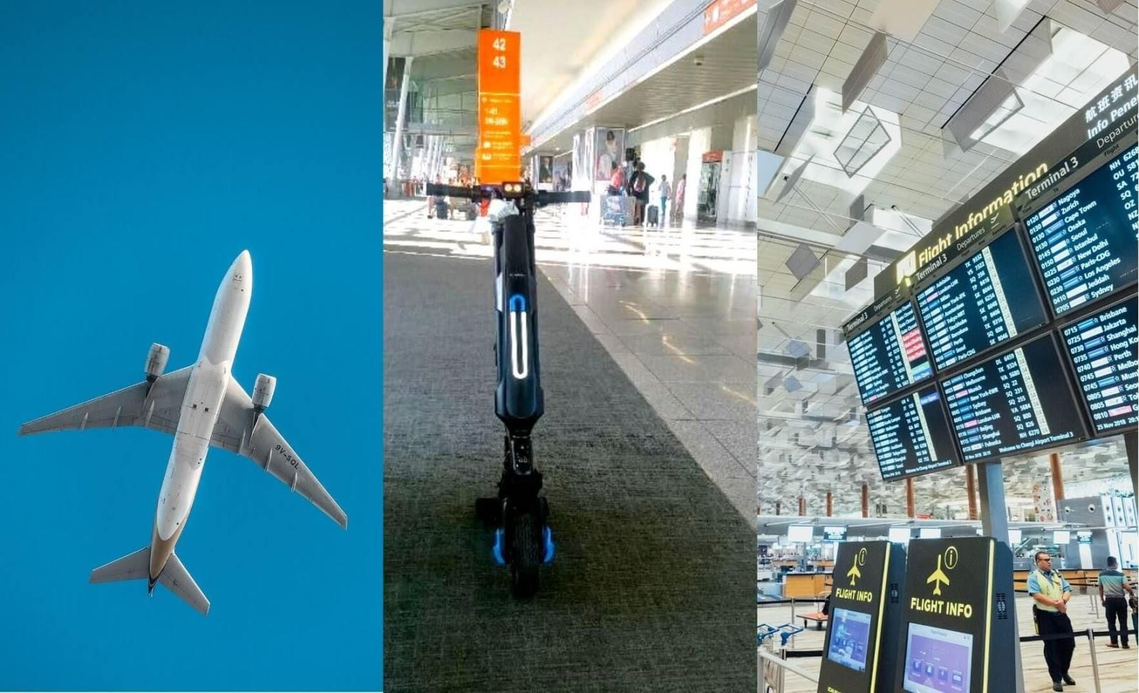 Three pictures: One featuring an airplane in the sky, the other one featuring an electric handicycle and the last one featuring an airport with a flight information digital board.