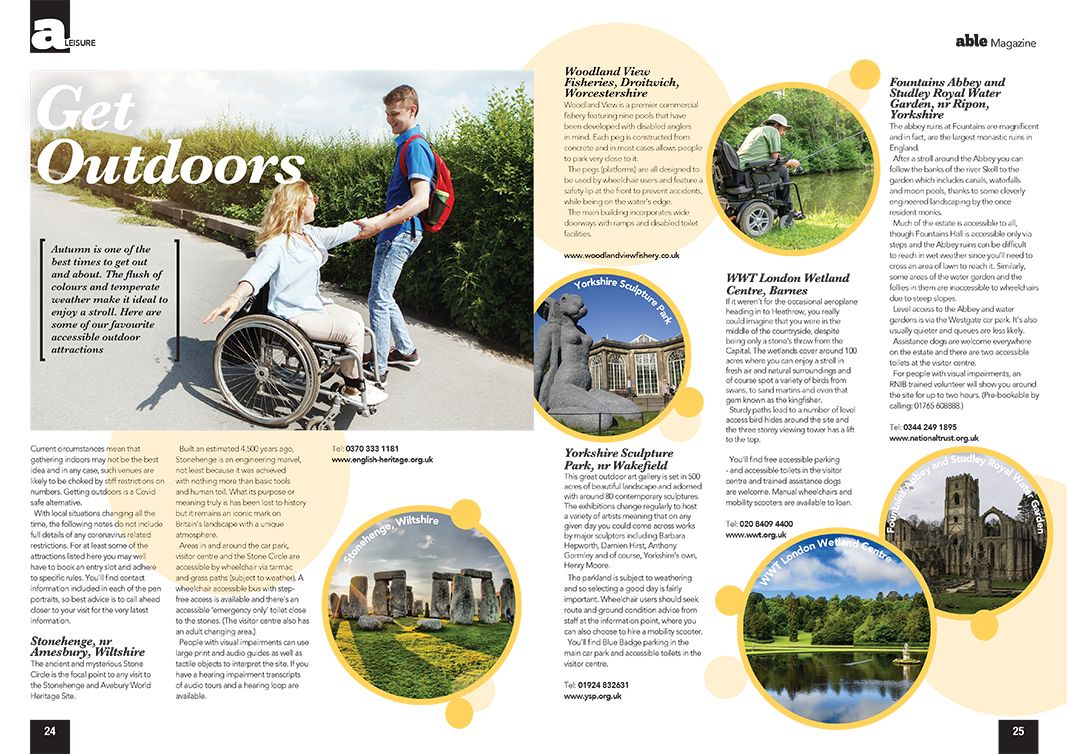 Image of a get outdoors article from Able Magazine.