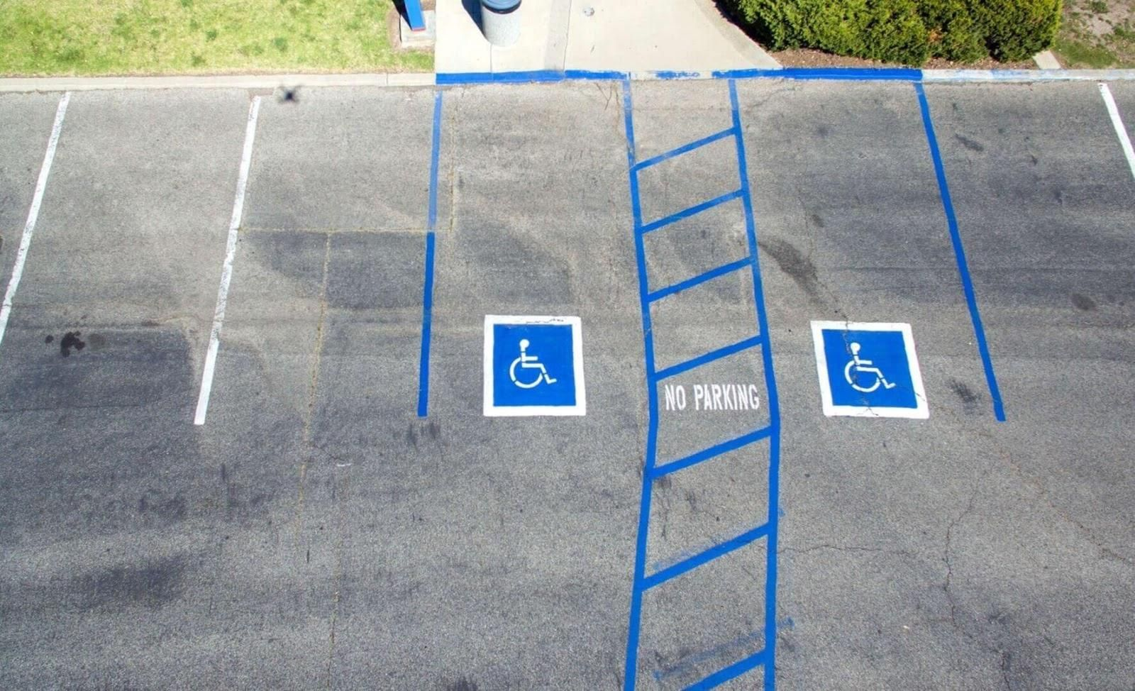Picture of disabled parking spaces.