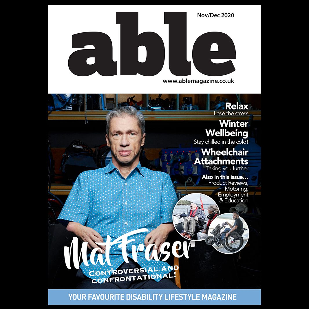 Picture of an Able Magazine cover with Matt Fraser.