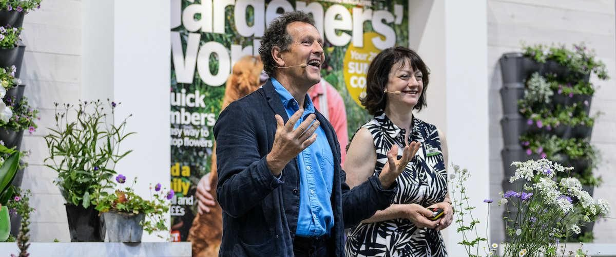 Monty Don with Lucy Hall on the BBC Gardeners' World Magazine Stage