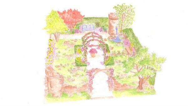 Claudie de Yong Show Garden illustration - BBC Gardeners' World Live, Wyevale Garden Centres