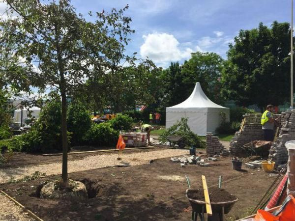 End of week 1 for the Romance in the Ruins Show Garden build at BBC Gardeners' World Live