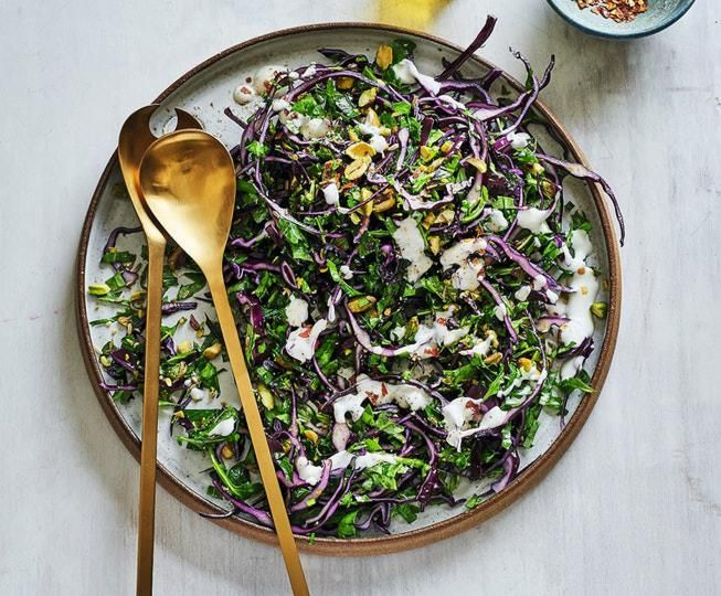 Pistachio, rocket, fennel and red cabbage slaw