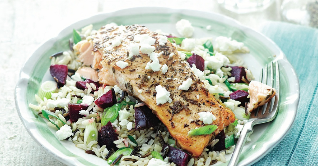 Spiced Salmon with beetroot, feta and wild rice